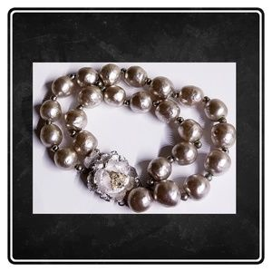 Vintage Miriam Haskell Platinum Pearl Bracelet